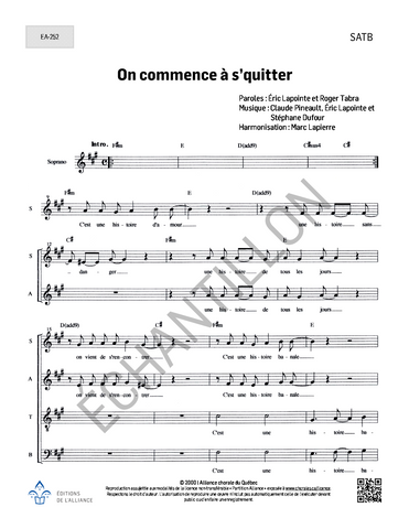 On commence à s'quitter - SATB (+ piano ou guitare)