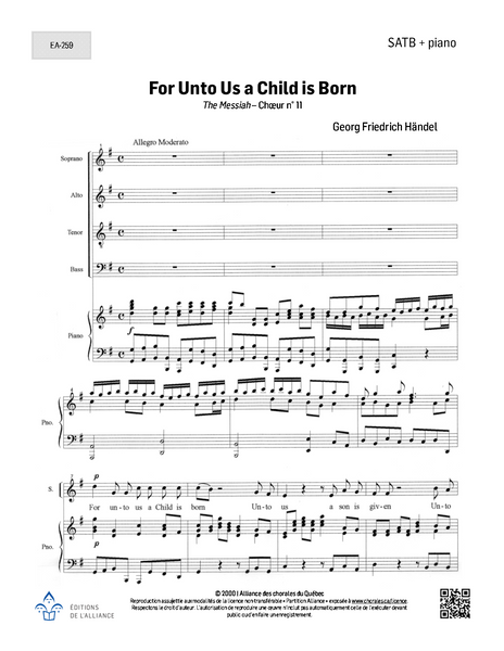 For Unto Us a Child is Born - SATB + piano