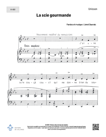 La scie gourmande - Unisson + piano