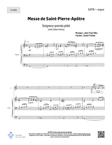 Messe de Saint-Pierre-Apôtre - SATB - orgue