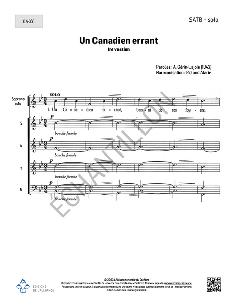 Un Canadien errant (arr. R. Alarie, 1re version) - SATB + solo