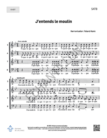 J'entends le moulin - SATB