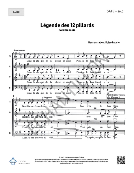 Légende des 12 pillards - SATB + solo
