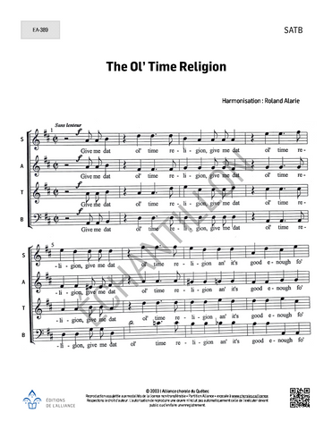 The Ol' Time Religion - SATB