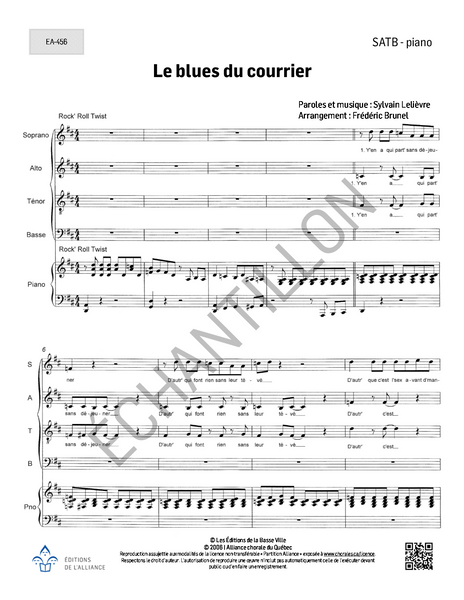 Le blues du courrier- SATB + piano