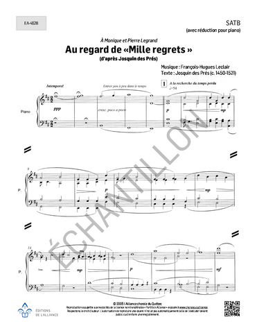 Au regard de « Mille regrets » - SATB + ensemble instrumental