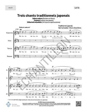 Trois chants traditionnels japonais - SATB