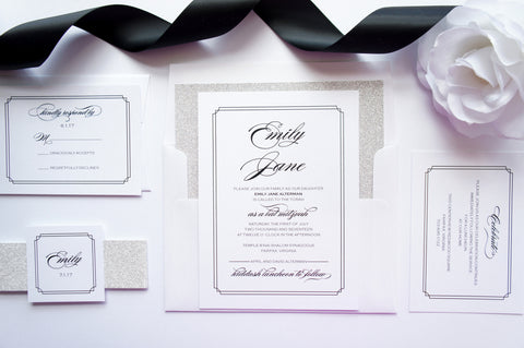 Silver Bat Mitzvah, Quince or Sweet Sixteen Invitation - DEPOSIT