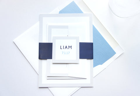 Blue Bar Mitzvah Invitation, Modern, Color Customize! - DEPOSIT