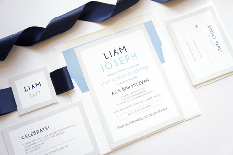 Blue Bar Mitzvah Invitation, Bar/Bat Mitzvah Invitations - SAMPLE SET