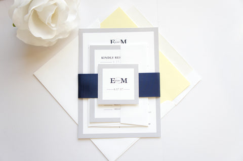 Modern Yellow, Navy and Gray Wedding Invitation - SAMPLE SET
