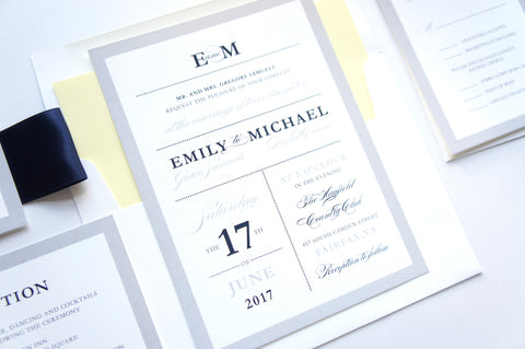 Yellow and Navy Wedding Invitation - DEPOSIT