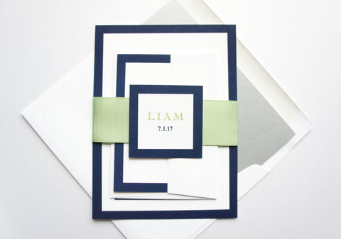 Bar Mitzvah Invitation, Modern, Green and Blue - DEPOSIT