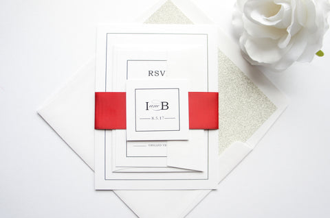 Simple Elegant Red Wedding Invitation - SAMPLE SET