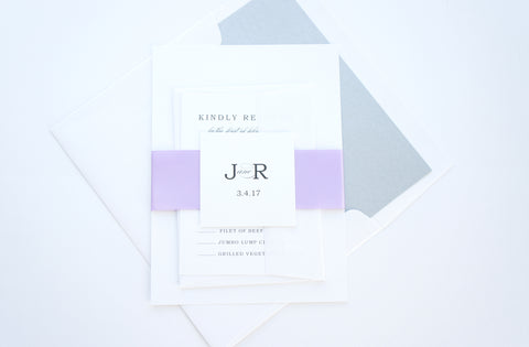 Elegant Purple Wedding Invitation - DEPOSIT