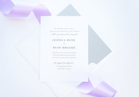 Simple Elegant Purple Wedding Invitation - SAMPLE SET
