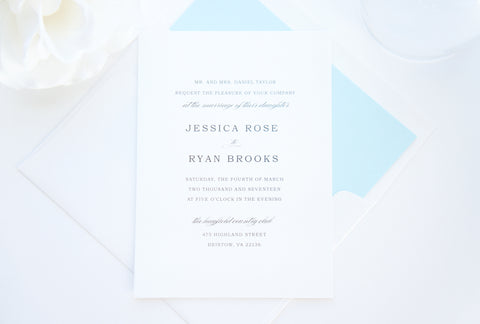 Simple Elegant Blue Wedding Invitation - SAMPLE SET