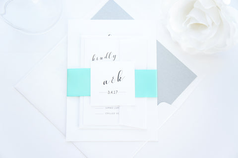 Mint Calligraphy Wedding Invitation - DEPOSIT