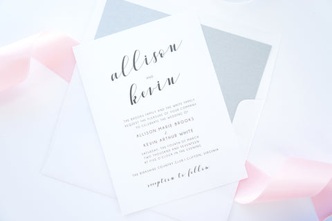 Pink Calligraphy Wedding Invitation - SAMPLE SET