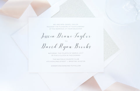 Modern Script Wedding Invitation - SAMPLE SET