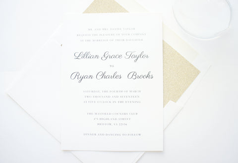 Mint and Gold Wedding Invitation - SAMPLE SET