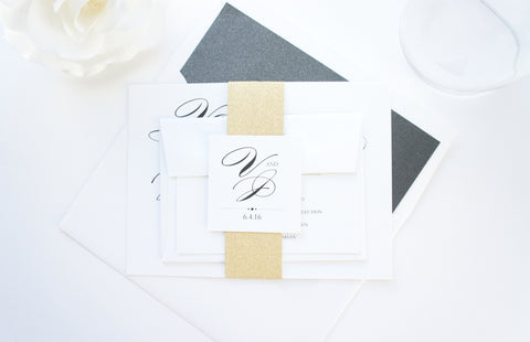 Gold Script Wedding Invitation - SAMPLE SET
