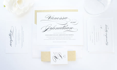 Gold Calligraphy Wedding Invitation - DEPOSIT