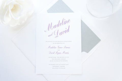 Purple and Gray Wedding Invitation - DEPOSIT