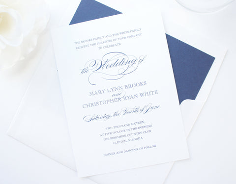 Pink and Navy Wedding Invitation - DEPOSIT