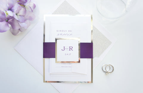 Purple and Silver Wedding Invitations, Elegant Wedding Invite- SAMPLE SET