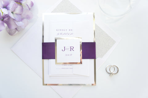 Purple Wedding Invitations, Elegant Wedding Invitations, Glitter Wedding Invitation - DEPOSIT