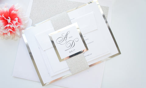 Silver Glitter Wedding Invitations, Elegant Wedding Invitations, Formal Wedding Invitation - DEPOSIT