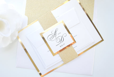 Formal Gold Wedding Invitation - DEPOSIT