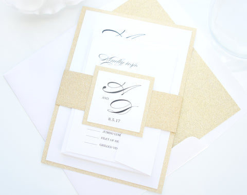 Elegant Gold Glitter Wedding Invitation - DEPOSIT
