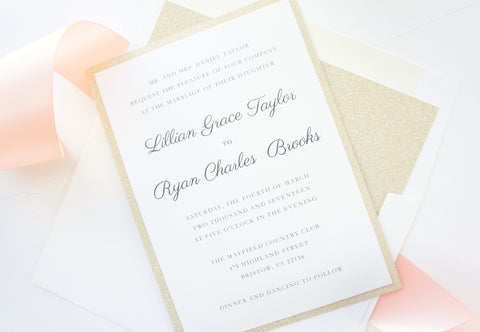Blush and Gold Wedding Invitation, Pink and Gold Wedding Invitation - DEPOSIT