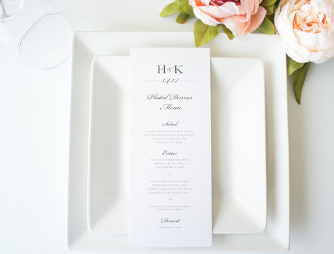 Modern Elegant Wedding Menu Cards - DEPOSIT