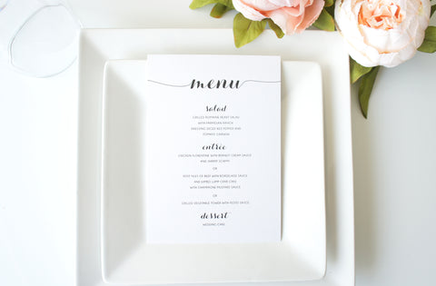 Black Script Wedding Menu Cards - DEPOSIT
