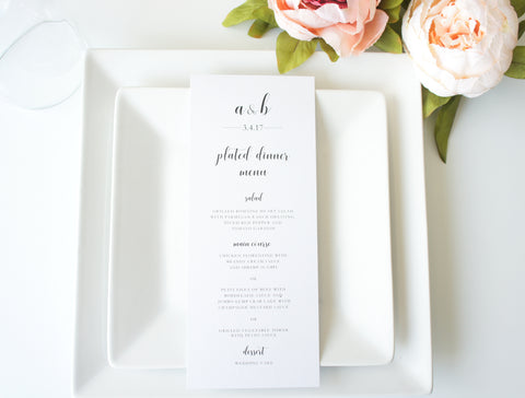 Modern Script Wedding Menu Cards - DEPOSIT