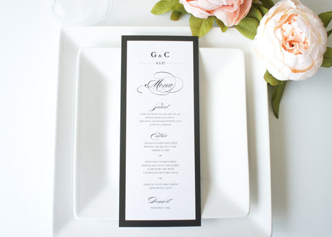 Black and White Wedding Menu Cards - DEPOSIT