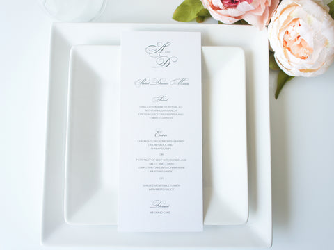 Simple Elegant Wedding Menu Cards - DEPOSIT