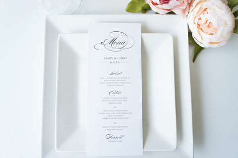 Elegant Calligraphy Wedding Menu Cards - DEPOSIT
