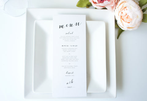 Modern Calligraphy Wedding Menu Cards - DEPOSIT