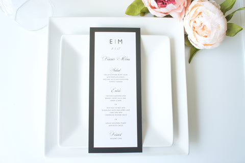 Black Border Monogram Wedding Menu Cards - DEPOSIT