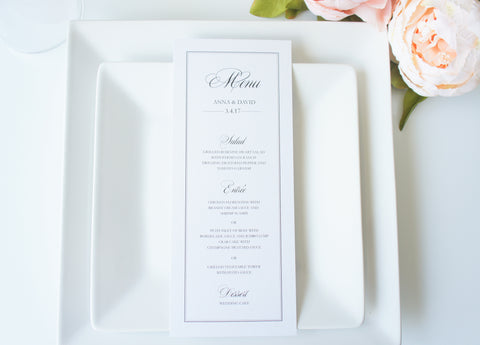 Simple Border Elegant Wedding Menu Cards - DEPOSIT