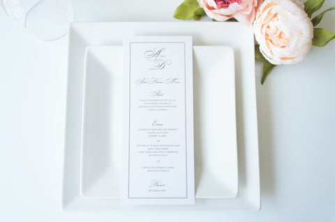 Formal Wedding Menu Cards - DEPOSIT