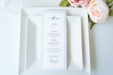 Silver Wedding Menu Cards - DEPOSIT