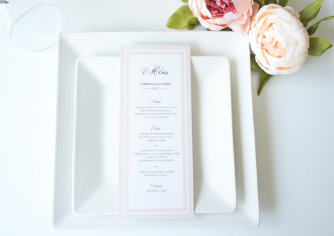 Beige Monogram Wedding Menu Cards - DEPOSIT