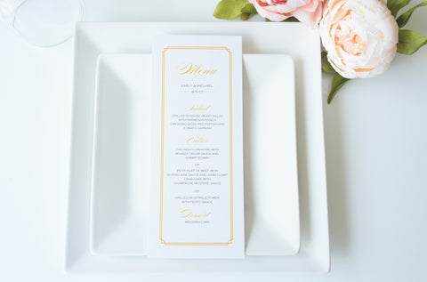 Gold Wedding Menu Cards - DEPOSIT