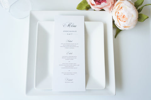Elegant Wedding Menu Cards - DEPOSIT