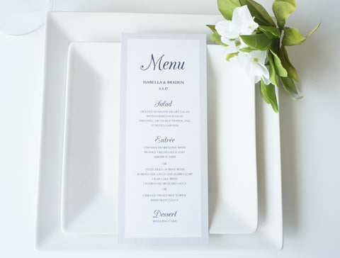 Navy and Silver Menu Cards - DEPOSIT
